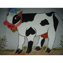 Pano Prato Vaca Malhada Com Croche Branco - Pp027