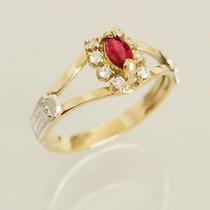 Anel Formatura Ouro 18k 750 Rubi Diamantes Direito Feminino
