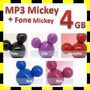 Mp3 Player E Pendrive Mickey Olhinhos Led + Lindo Fone 4 Gb