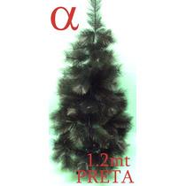 Árvore Natal Preta Pinheiro Grossa 1,20mt 110g + Brinde