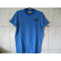 Camiseta Listrada Hollister Gola Envelhecida M 70cm X 52cm