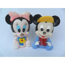 Mickey E Minnie Bonecos Antigos Baby Disney Borracha Vinil