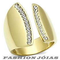 Anel Fenda Folheado A Ouro 18k Com Zirconias - Luxo