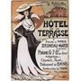 Hotel Terrasse Mulher Vestido Chapéu Paris Poster Repro