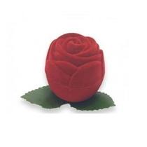 Porta Anel Aliança Botão De Rosa Em Veludo Vermelho
