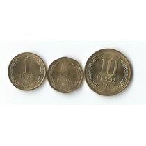 Set De 03 Moedas Diferentes Do Chile 1 A 10 Pesos Todas Fc