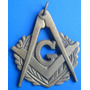 Maçonaria-medalha Regua E Compasso+ G -bronze Antiga-5,5 Cm