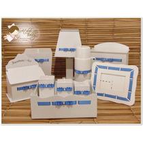Promoção Kit Higiene De Bebê 10 Peças Mdf Branco Laqueado