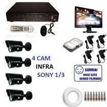 Cftv C/ Dvr + 4 Cam Infra Sony ,monitor,hd 1tb Frete Grátis