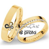 Par De Aliança Ouro 18k - 4mm/10grs - 40 Diamantes - Dc416