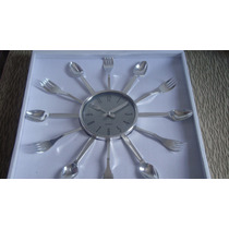 Relógio De Parede Quartz Talheres Decoração Cozinha
