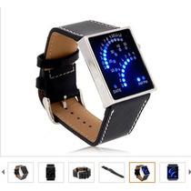 Moderno Relógio Binário Led Hora E Data + 1 Brinde