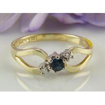 Anel Em Ouro Amarelo 18 Quilates Diamantes E Safira Natural