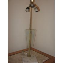 Luminaria De Mesa Anos 60 - Vintage - Latão /marmore/ Vidro