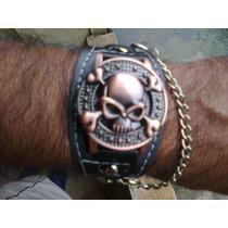 Relógio Masculino Piratas Do Caribe Bronze Pulseira Preta