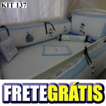 Kit Berço Personalizados 10 Pçs Marinheiro Baby Azul