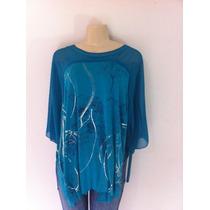 Blusa Parresh Azul Tamanho Único