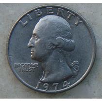 259 Eua - Quarter Dollar 1974 Sem Letra - Serrilha 24mm