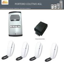Kit Interfone Agl 4 Pontos + Fechadura Elétrica +100m Cabo