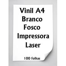 Vinil Adesivo A4 Branco Fosco Impressora Laser 100 Folhas
