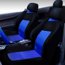 Jogo Completo De Capas Para Banco Automotivo Preta Com Azul