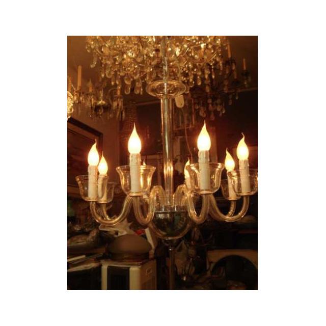 Lustre Em Cristal  Liso Sem Lapidação 8 Lampadas