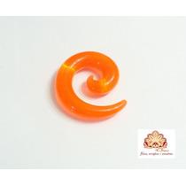 Alargador Espiral Chifre 10mm Acrílico,laranja