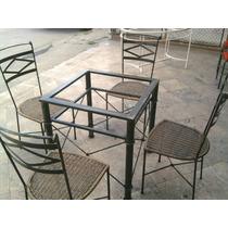 Base De Mesa Em Ferro Med 55x55 Com Cadeiras Junco Sintetíco