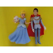 01 Par Bonecos Princesa Cinderela E Principe Com 10cm Altura