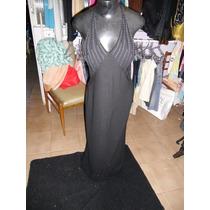 Vestido Longo Em Crepe Frente Única Bordado By Greta Cauê