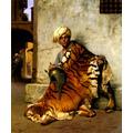 Egito Homem Árabe Com Pele De Tigre Pintor Gérôme Tela Repro