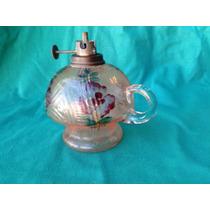 Centenário Lampião De Mão Querosene Vidro Pintado