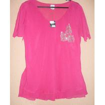 Camisa, Blusa, Rosa Pink, Crepe Com Detalhe Paetes -tam - Gg