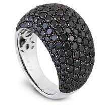 Anel Pave Em Ouro Branco Com Diamantes Negros18 Quilates !!