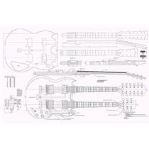 Planta Tamanho Real Da Guitarra Gibson Sg Double Neck