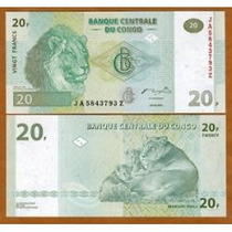 Congo (ex-zaire) 20 Francos 2003 P. 94a Fe Cédula (imp. G&d)