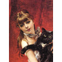 Menina Segurando Seu Gato Preto Pintor Boldini Na Tela Repro
