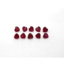 Lindo Lote 10 Pedra Rubi Zircônio Coração 6mm