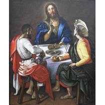 Quadro Pintura Óleo S/ Tela Ceia Emaús Arte Sacra 50x60cm