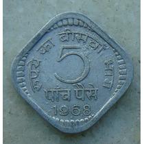 Moeda India 1974, Aluminio, 5 Ruppias, 19mm Alum Quadrada