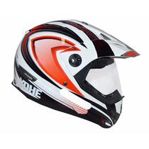Capacete Yohe Trail Sport Cros Com Viseira Branco E Vermelho