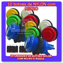 Kit 10 Botoes Nylon Micro Para Fliperama E Arcade Coelhomac