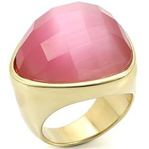 Anel Folheado A Ouro 18k Pedra Natural Rosa Turmalina
