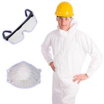 Kit Super Proteção 3x1 Macacão Descartável,óculos, Máscara
