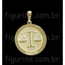 Pingente Direito / Profissão Em Prata 925 Banhada A Ouro 18k