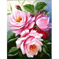 Tela Flores Rosas Pintura Oleo Quadro