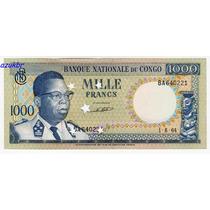 * Congo 1000 Francs 1-8-64 (cat Unc $200) Sob/fe Promoção *