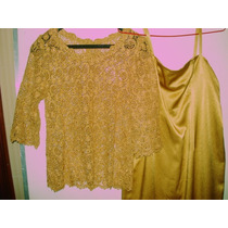 Vestido Dourado+ Blusa Renda Guipir Dourada+ Capa Voal G