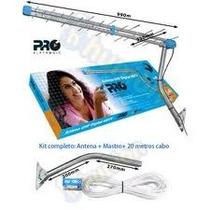Kit Antena Externa Digital + Mastro + Cabo - Vhf Uhf Hdtv