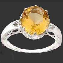 Citrino E Diamante Naturais No Anel Em Prata 925 Rodinada